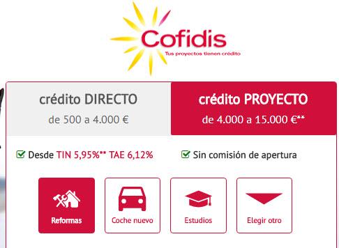 cofidis credito proyecto intereses